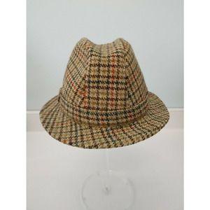 Vintage Irish Wool Plaid Fedora Hat, 7 3/8